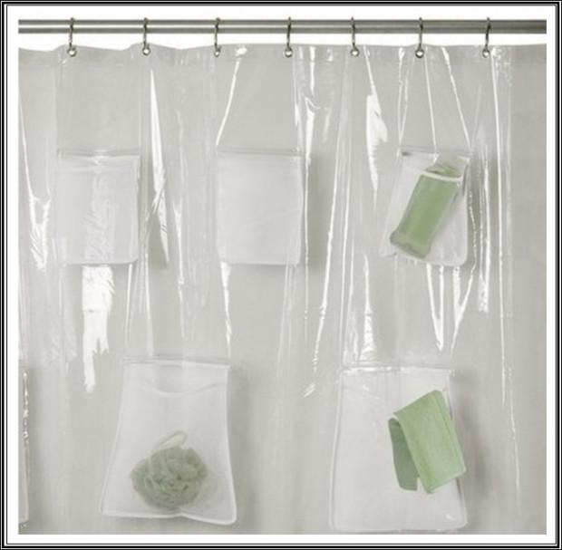 Zuhanyfüggöny zsebekkel: tökéletes a tisztálkodószerek - mint például tusfürdő, sampon, balzsam - tárolására.
