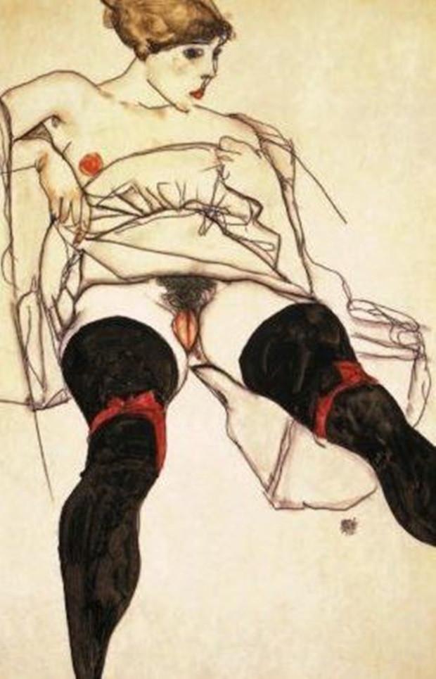 Egon Schiele-Nő fekete harisnyával. A férfit többször letartoztatták azért, amiért így ábrázolta a nőket