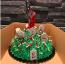 Milyen kedves ötlet egy embertelen nagy, véres kést beleállítani egy csontokkal borított, temetőt mintázó tortába!