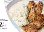 Tejszínes cukkinis főzelék sült csirkeszárnnyal