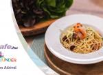 Citromos-cukkini spagetti, Patagóniai tintahal karikákkal és grillezett garnélával