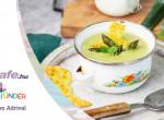 Joghurtos spárgakrémleves, sajtchipssel